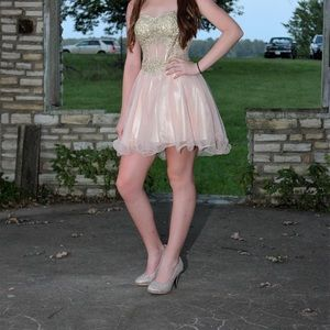 pink and gold homecoming dress